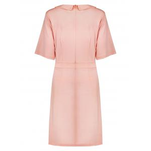 Collared Plus Size A Line Dress with Pockets - PINK 2XL