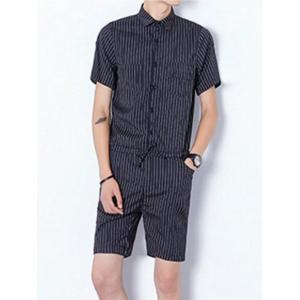Half Button Up Drawstring Striped Romper - Black - Xl