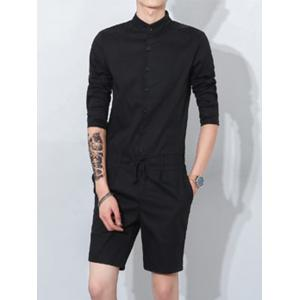 Half Sleeve Mandarin Collar Drawstring Romper - Black - 2xl