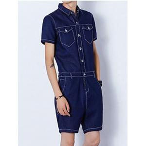 Half Button Up Back Zip Denim Romper - DEEP BLUE XL