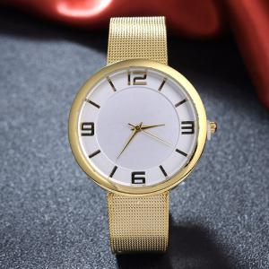 Mesh Alloy Band Number Analog Watch - GOLDEN