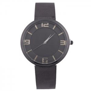 Mesh Alloy Band Number Analog Watch - Black