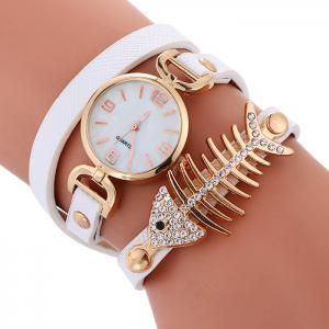 Faux Leather Fishbone Rhinestone Wrap Bracelet Watch