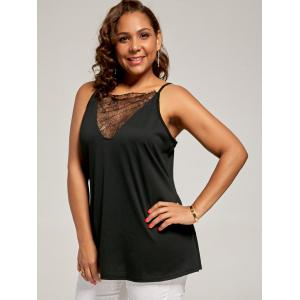 Plus Size Eyelash Lace Spaghetti Strap Tank Top - BLACK XL