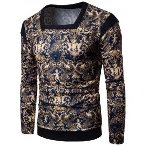 Long Sleeve 3D Abstract Print Panel Design Sweatshirt