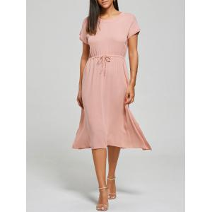 Drawstring Flowy Casual Midi Dress