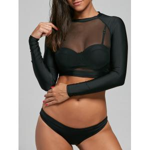 Push Up Bikini with Long Sleeve Mesh Top - Black - Xl