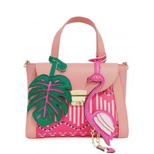 Monstera Leaf and Flamingo PU Leather Handbag