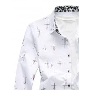 Crisscross Printed Long Sleeve Shirt - WHITE 5XL