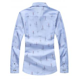Crisscross Printed Long Sleeve Shirt - LIGHT BLUE L
