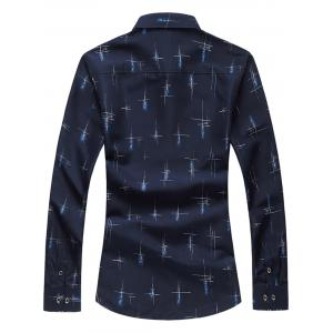 Crisscross Printed Long Sleeve Shirt - CADETBLUE XL