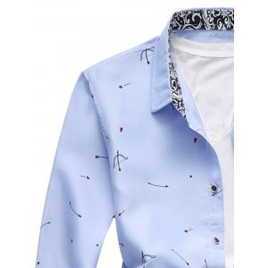 Arrow Print Button Long Sleeve Shirt - LIGHT BLUE 3XL
