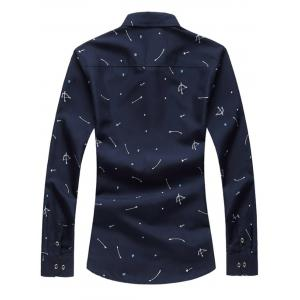 Arrow Print Button Long Sleeve Shirt - CADETBLUE 3XL