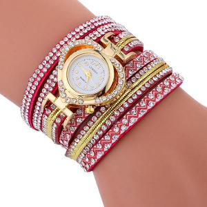 Rhinestoned Faux Leather Heart Bracelet Watch