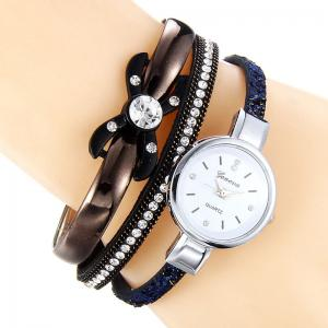 Rhinestone Faux Leather Strap Bracelet Watch - Blue