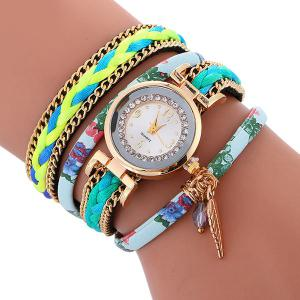 Chain Braided Layered Charm Bracelet Watch - Azure - 6xl