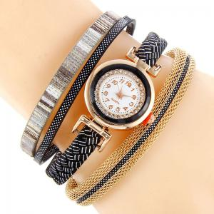 Chain Braided Number Quartz Bracelet Watch - Black