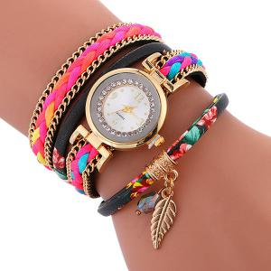 Chain Braided Layered Charm Bracelet Watch - Black