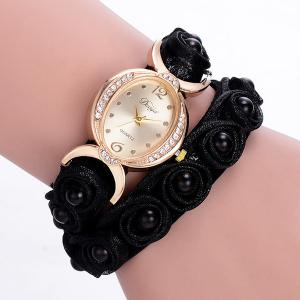Faux Pearl Flower Quartz Bracelet Watch - Black