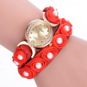 Faux Pearl Flower Quartz Bracelet Watch - Red - One Size
