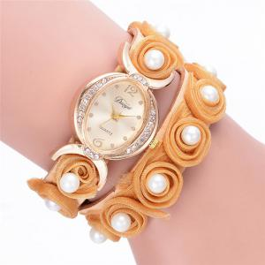 Faux Pearl Flower Quartz Bracelet Watch - Orange - S