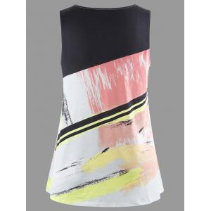 Splash Ink Print Plus Size Tank Top - COLORMIX XL