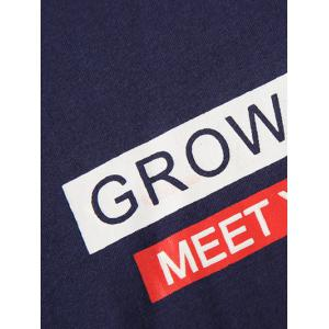Short Sleeve Grow Up Print Graphic Tee - BLACK 3XL