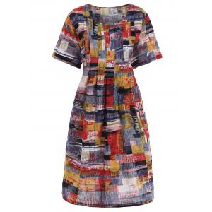 Plus Size Graffiti Printed Casual Dress with Pockets