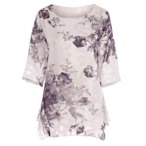Plus Size  Floral Chiffon Asymmetric Top
