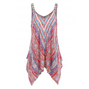 Plus Size Printed Asymmetric Bohemian Top
