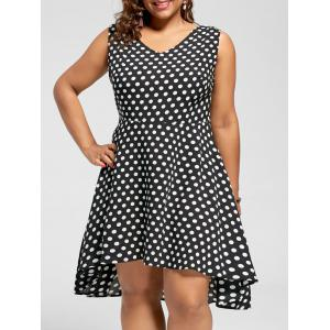 Polka Dot Plus Size High Low Hem Dress