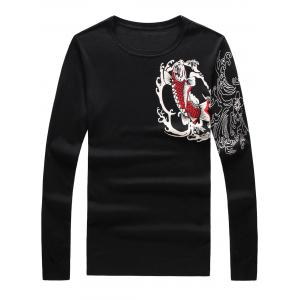 Long Sleeve 3D Fish and Flower Print Sweater - Black - L