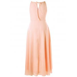 Plus Size Cut Out Overlap Flowy Dress - PINKBEIGE XL