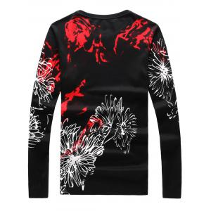 Crew Neck 3D Dragon Print Long Sleeve Sweater - BLACK WHITE M