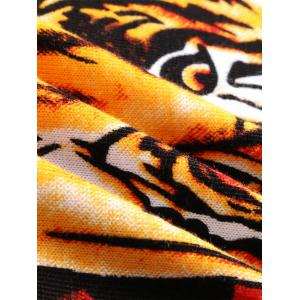 Crew Neck 3D Tiger Abstract Print Long Sleeve Sweater - BLACK M