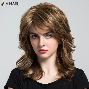 Siv Hair Side Bang Highlight Layered longue perruque ondulée des cheveux humains - Multicolore
