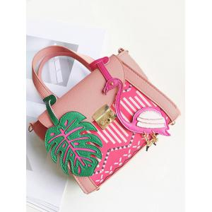 Monstera Leaf and Flamingo PU Leather Handbag - PINK
