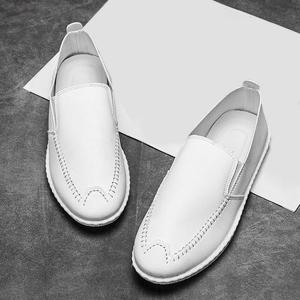 Faux Leather Stitch Slip On Shoes - Blanc 43