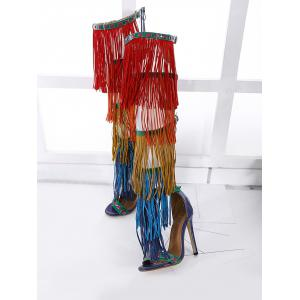 Fringe Belt Buckle Zipper Sandals - FLORAL 39