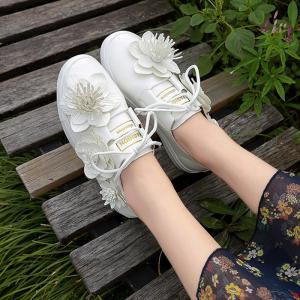 Faux Leather Flower Embellished Sneakers -
