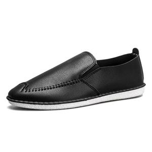 Faux Leather Stitch Slip On Shoes - Noir 40