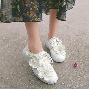 Faux Leather Flower Embellished Sneakers - WHITE 37