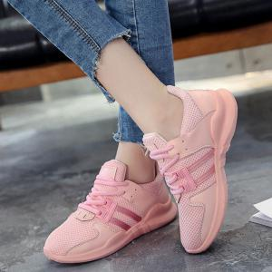 Faux Leather Insert Breathable Athletic Shoes - PINK 38