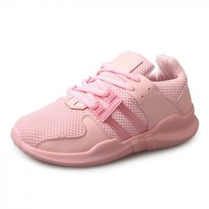 Faux Leather Insert Breathable Athletic Shoes - PINK 40