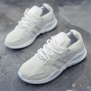 Faux Leather Insert Breathable Athletic Shoes - WHITE 39