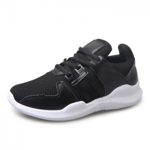 Faux Leather Insert Breathable Athletic Shoes - BLACK 40