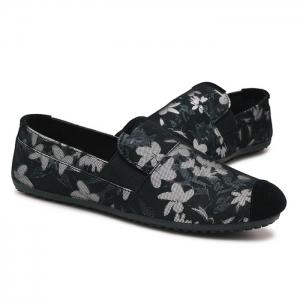 Floral Print Cap Toe Slip On Sneakers -