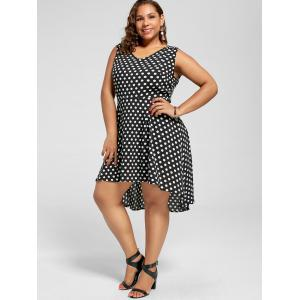 Robe à manches longues Polka Dot Plus Size High Low Hem -