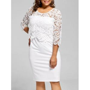 Lace Panel Knee Length Plus Size Bodycon Dress