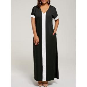Plus Size Maxi Two Tone Dress with Short Sleeves - Black - 3xl